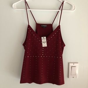 Express Studded Cropped Cami Tank in Burgandy